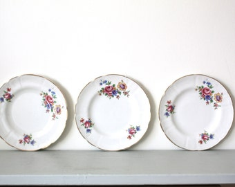 CLOSING DOWN SALE - 50% Off Trio of Floral Side Plates by Arklow Pottery of Ireland
