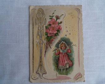 Vintage Victorian Valentine Little Girl
