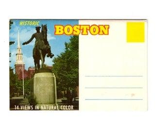 Vintage Boston Massachusetts Postcard Souvenir Folder