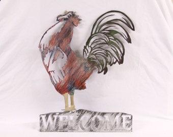 Chicken Welcome Sign | Metal Wall Art | Farm Decor | Rooster Welcome Sign | Chicken Decor | Home Decor | Wall Art | Wall Decor | Livestock