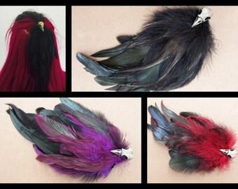 Black Feather Bird Skull Hair Clip