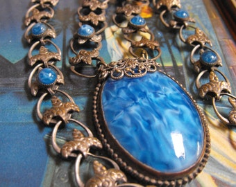 Victorian necklace blue marble glass and silver bookchain necklace