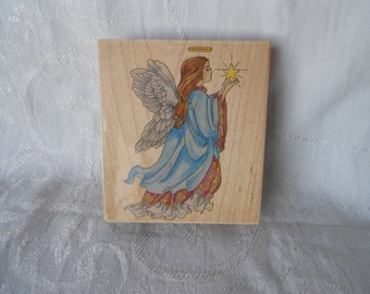Extra Large Celestial Angel Stamp by Stamps Happen, Inc- Christmas Angel Stamp - Destash - Never Used - Ready to Ship