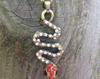 Gorgeous rhinestone snake necklace
