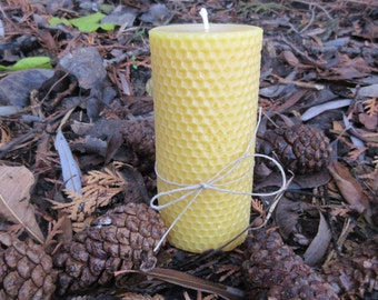 Hexagon Cylinder Beeswax Pillar Candle