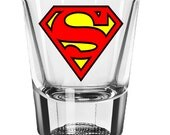 Superman Shot Glass, Wedding Favors, Personalized Gifts for Men, Dad, Guys Custom 2oz Shot Glass