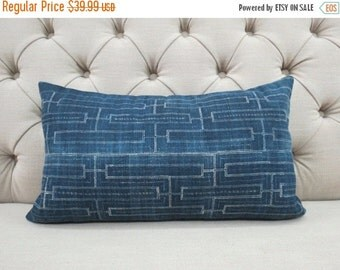 ON SALE, Vintage Indigo batik Hmong cushion cover, Handwoven Hemp Fabric,Throw Pillow,Decorative Pillows