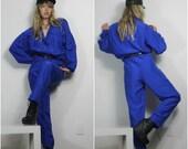 80s Silk Jumpsuit Electric Blue Baggy Oversized Flight Style Cargo Onesie