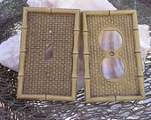 Vintage Tiki 6 Light Switch Plates and 3 Outlet Covers GE Faux Bamboo Molded Hard Plastic 1974 General Electric