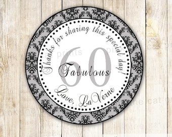 Grey Damask Birthday Thank You Tag - Printable Personalized Birthday Party Favor Vintage Party Thank You Tag Anniversary 60th Birthday Favor