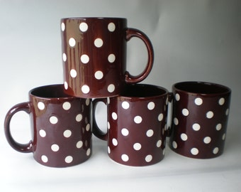 4 Vintage Waechtersbach Brown and White Polka Dot Mugs Set of 4
