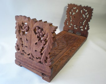 Beautifully Carved Folding Wood Book Rack Bookends