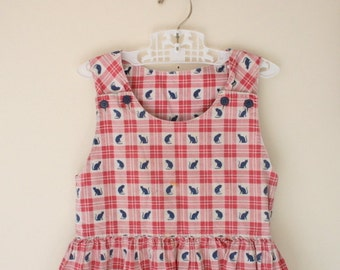 Vintage CATS Dress.....size 2 3 4 girls... 60s dress. 70s dress. kitsch. retro. mod. vintage handmade. abc. checkered. children. girls. kids