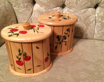 Rustic Wooden Canisters With Hand Painted Cherries And Blueberries  Rustic Kitchen Canister Set Of Two Cherry Kitchen Blueberry Kitchen