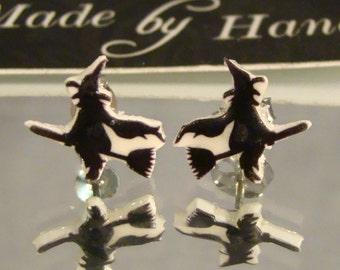 Flying Witch Stud Earrings - Halloween Jewelry