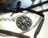 Victorian Style Locket With Satin ties