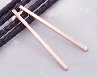 1 Pair of 925 Sterling Silver Rose Gold Vermeil Style Rectangle Stick Stud Earrings 2x40 mm. :pg0191