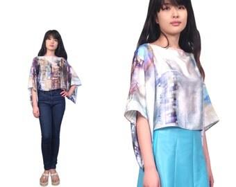 NYC SKYLINE top, SILK kimono top, nyc blouse, skyline blouse, silk blouse