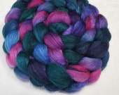 BFL/Tussah 75/25 Roving - 4 oz - Hand Painted - Raspberry, Teal and Blue