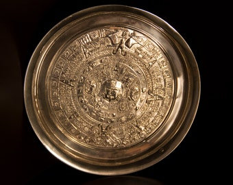 Vintage Sterling Silver Aztec Calendar Plate   Mexican Sterling Silver Plate / ON SALE