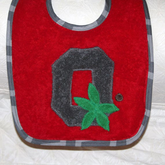 Ohio State Baby Bib Block O Buckeye Baby Bib on a Red Bib with