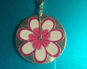 Washer pendants etsy two sided pink cherry blossom washer pendant with clasp aloadofball Choice Image
