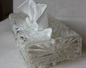 Wilardy 1950s Lucite Tissue Box Clear Faceted Design Heavy EUC -B6