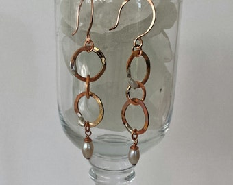 Copper Double Ring Dangle Earrings with Golden Glaze and Pearls