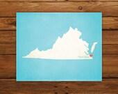 Customized Printable Virginia State Map Art - DIGITAL FILE - Aged-Look Canvas Wall Art Print