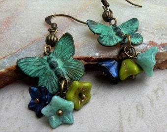 Butterfly Earrings, Dangle Butterfly Earrings, Verdigris Butterfly Jewelry, Butterfly Drop Earrings