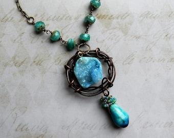 Druzy Necklace, Aqua Druzy Necklace, Druzy Stone Necklace