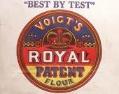 Vintage Royal Patent Paper Flour Sack with Blue, Red and Yellow Graphics - Great Retro Kitchen Decor!