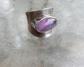 60's Vintage Mexican Sterling Amethyst Wide Ring Mod Space Age 6.5/ 6