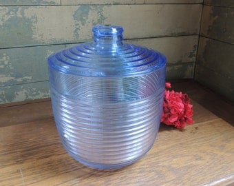 Vintage Majestic Ice Bucket / Blue Ice Bucket / Ribbed Hard Plastic Ice Bucket / Vintage Ice Bucket Made in USA / Blue Ribbed Ice Bucket