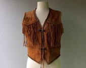 FRINGE Leather Vest with Metal Buttons