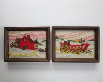 Vintage Crewel Embroidered Farm Scene Pair Red Barn and Hay Wagon