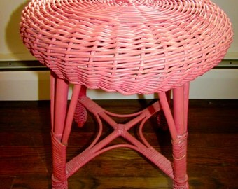Antique Wicker Rattan Stool Beautiful Rose Color