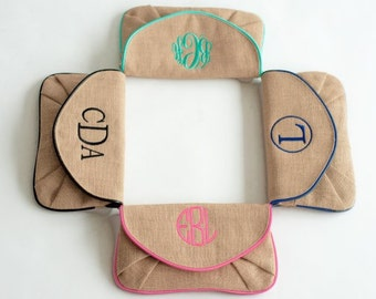 Burlap Clutch - Monogrammed Clutch - Mint Trim Crossbody - Personalized Handbag - Wristlet - Shoulder Bag - Monogram Bag - Embroidery Clutch