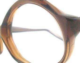 Vintage Glasses Eyeglasses Sunglasses Walnut New Frame France Eyewear