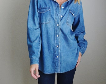 Vintage 90s Denim Button Up Down Long Sleeve Shirt // womens large xlarge
