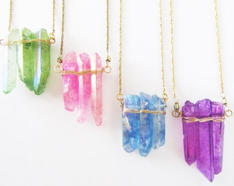 Boho Chic Necklace / Raw Crystal Quartz Necklace / Spring and Summer Accessories
