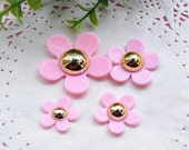 4 pcs of Resin Flower Cabochon 20mm 25mm 30mm 40mm White / Pink Colors