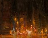 Original oil painting of Denver, Colorado, Broadway and Glenarm St, impressionism city scape street scene