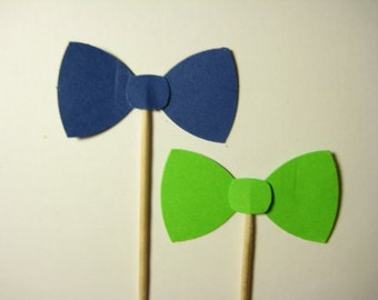 24 Navy Blue Lime Green Bow tie Party Picks - Cupcake Toppers - Toothpicks - Food  Picks FP675