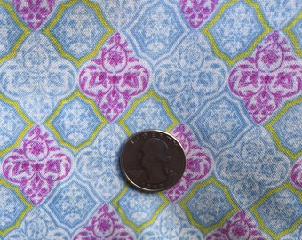 New ONE Yard Brother Sister Design Vintage Paris Diamond Cotton Fabric One Yard 3 Yards Available Beautiful muted colors Blue Cream Purple