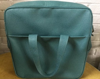 Vintage Retro Teal Vinyl Travel Carry Luggage Tote