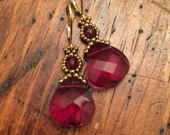 Red crystal earrings, Swarovski earrings, red earrings, ruby earrings, perfect gift, marsala earrings, holiday earrings