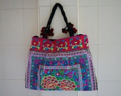 Large Handbag Ethnic Hmong Fabric Tote Embroidered Handmade Bags Vintage Pom Pom Style from Thailand