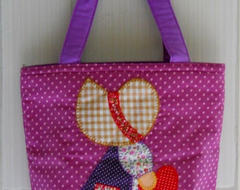 Fabric Patchwork handbag, Small Purple handbag, Cosmetic Sue bag, Top handle bag, Make up handbag, Applique handbag