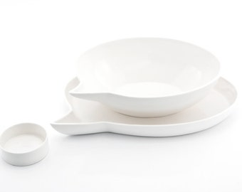 Porcelain Bowl and Plate, Porcelain Dishes, Quirky Dinnerware, Modern Tableware